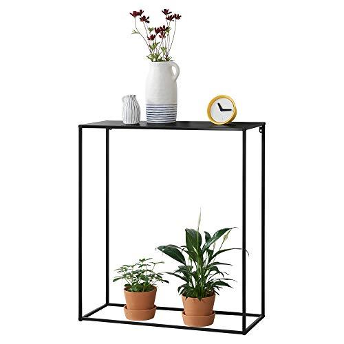[en.casa] Konsolentisch Beistelltisch 92x80x32 cm Wohnzimmertisch Industrie-Design Metall Schwarz