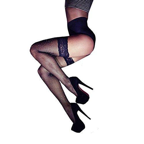 ⭐Netz-Netzstrümpfe der Art und Weisefrauen VENMO Muster Strümpfe Strumpfhosen overknee strümpfe Lace Top Lingerie Strumpfgürtel Strümpfe reizvolle Nylon Strumpfwaren Socken Damen Strümpfe (Black)
