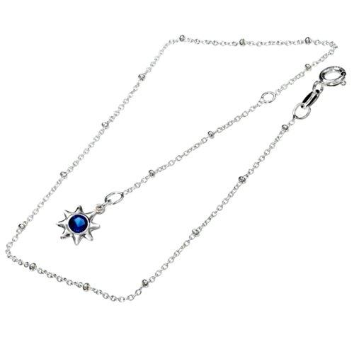 Vinani Fußkettchen blauer Stern 23 cm auf 28 cm verlängerbar Italien hochwertig Sterling Silber 925 Fußkette FBS