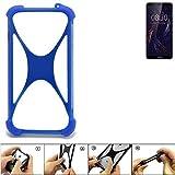 K-S-Trade Bumper für TP-LINK Neffos C9 Silikon Schutz Hülle Handyhülle Silikoncase Softcase Cover Case Stoßschutz, blau (1x)
