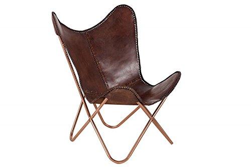 DuNord Design Butterfly Loungesessel echt Leder Stuhl Texas braun Esszimmer Klappstuhl Loungesessel