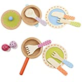 F Fityle Kinder Kochset inkl. 1x Topf + 2X Teller + 1x Schüssel und etc Utensilien, aus Holz