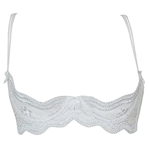 Shirley of Hollywood Number X331 S Size 44 White calloped Embroidery Shelf Bra