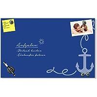 Rheita Glas Magnettafel Whiteboard 40x60cm Magnetwand Memoboard Tafel Board blau