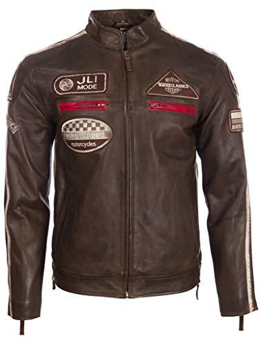 Aviatrix Herren Echtleder Bikerjacke mit Bandkragen und Rennabzeichen (CXUS) - Jacke Aus Herren Braun Leder Für