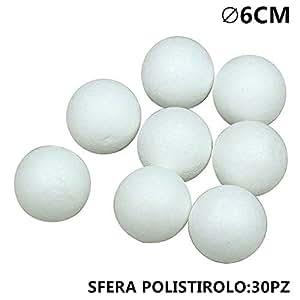 30 PZ Sfere di polistirolo diametro 6 cm palline di Schiuma Stamperia palle da decorare Addobbi decoupage