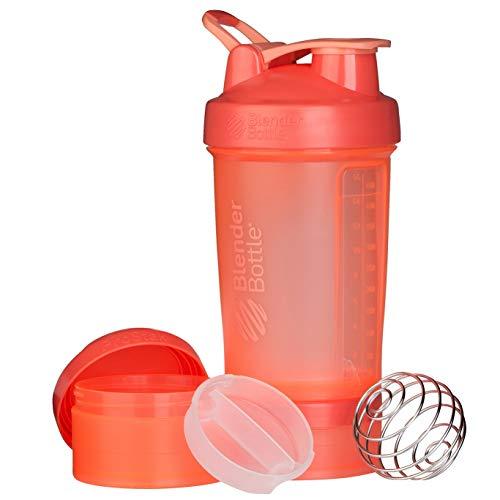 BlenderBottle ProStak - Botella de agua y mezcladora (1 x 650ml, 2 recipientes 150ml & 100ml,  1 recipiente para las grageas) Coral