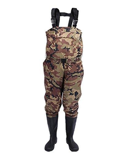 TentHome Wasserdichte Wathose Nylon Anglerhose dicke Bis Brust Watstiefel Camouflage Waders Verschleißfest Teichhose mit integrierten Stiefeln und Gürtel Gr.38-45 (46)