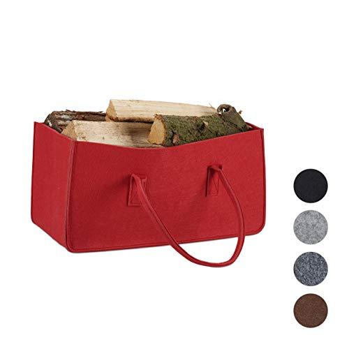 Relaxdays Kaminholztasche aus Filz, tragbarer Feuerholzkorb, Faltbarer Zeitungshalter HxBxT: 25 x 25 x 50 cm, rot