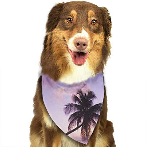 Osmykqe Purple Coconut Tree Hund Bandana Pet Schal für kleine mittelgroße Hunde ()