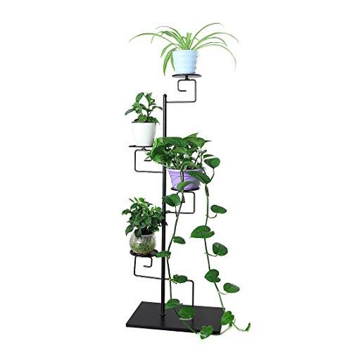 Ahhc ah portavaso in metallo fioriera decorazione a 4 piani per vasi di piante da giardino terrazza, nero