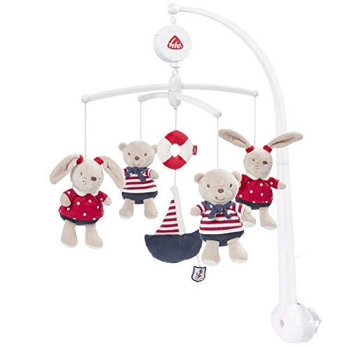 Fehn 078190 Musik-Mobile Ocean Club - Spieluhr-Mobile mit Teddys im Matrosenlook zum Lauschen & Staunen - Zum Befestigen am Bett für Babys von 0-5 Monaten - Höhe: 65 cm, ø 40 cm
