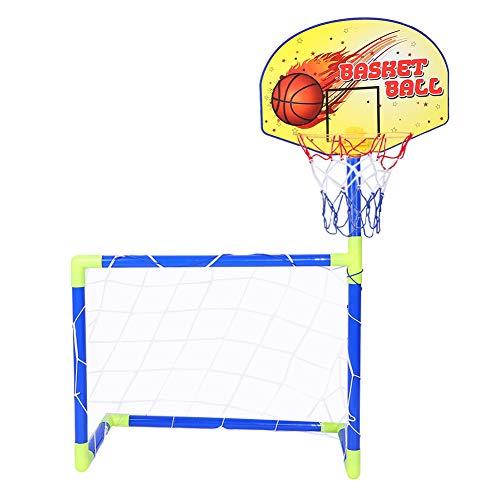 Dilwe Basketball und Fußball Sport Tor Sets, tragbare Kinder Fußballtor Basketballboard Kit mit kompletter Zubehör für Kinder Spielzeug Geschenk -