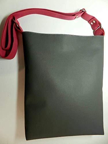 Umhängetasche aus Kunstleder - GRAU - und Innenstoff aus 100% Baumwolle mit Reißverschluss, Innentaschen, verstellbarem Gurt und Schlüsselband - Geschenk Weihnachten Geburtstag