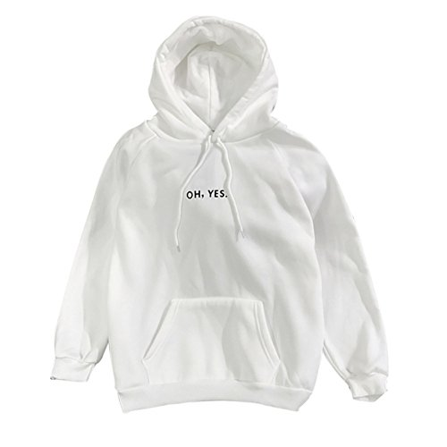 Yalatan Students Hooded Loose Long Sleeve Cashmere Solid Color Letters Sweaters White