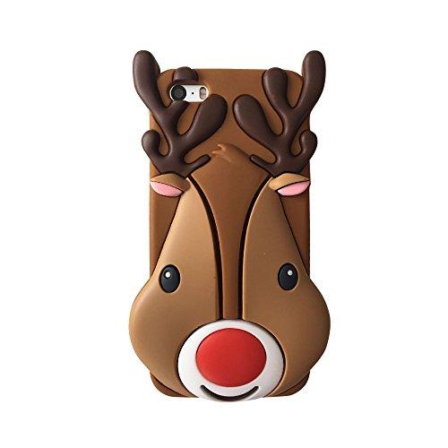 Kreatives Weihnachtsgeschenk iPhone 6 6S 3D Hülle Handyhülle, Silikon Cartoon-Case Cover Schutzhülle, Backcover Handy-Tasche Bumper 3D Spielzeug Etui für Apple iPhone XMAS Gift 6/6s (Santa Elk) Elk