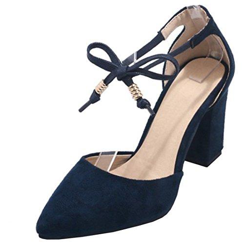 Atyche Damen Riemchen High Heels Sandalen mit Spitze und Schnürung Blockabsatz Pumps Ankle Strap Schuhe