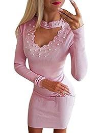 4c3215ad4086d WUDUBE Mini Robe Moulante, Femmes Col en v Sexy tricotées Fermeture éclair Manches  Longues Pull