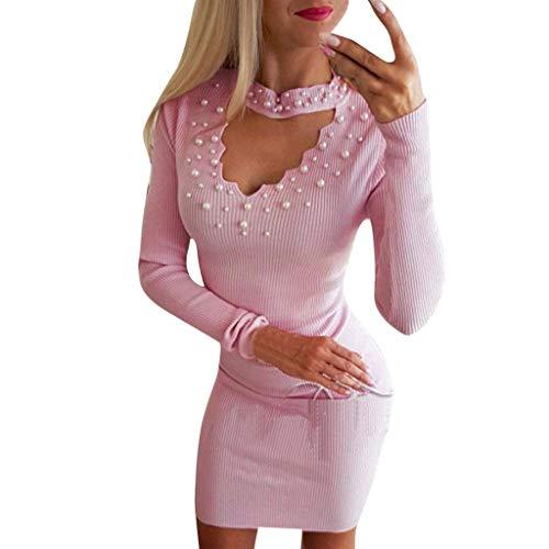 MCYS Robe Pull Femme Chic Femme V-Cou Profond Manche Longue Bouton Jupe Hanche Moulant Slim Robe de Soirée Cocktail Élégant Robes de Festival Fête Décontractée