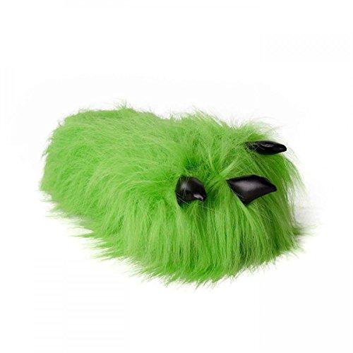 funslippers®, Kralle Tatze Tierhausschuhe grün Plüsch Hausschuhe Erwachsene und Kinder Monsterkrallen Bärentatze mit Gummisohle 36-38 (Kinder Kostüm Bigfoot)