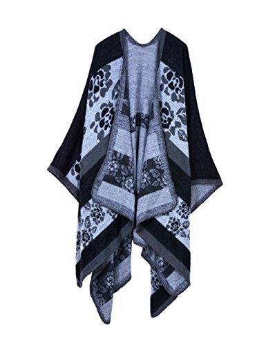 EMMA Femmes Oversize Hiver Poncho Tête Cardigan Couverture Châle Écharpe Plaid Pull Noir-fiore