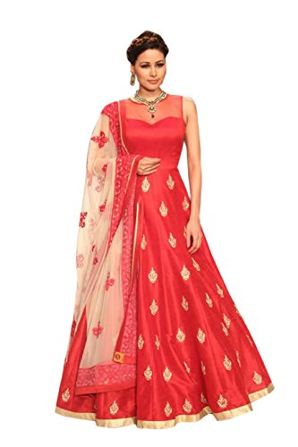 JULEE Women's Georgette & Net Fabric Embroidered Gown (Free Size_Red)