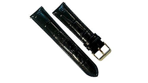 Ersatz-uhrenarmbänder Schwarz (Leder Uhrenarmband Schwarz Ersatz Bands Gold Watch Schnalle Schließe 20mm ausgestattet mit einem speziellen Hebel kein Werkzeug nötig)