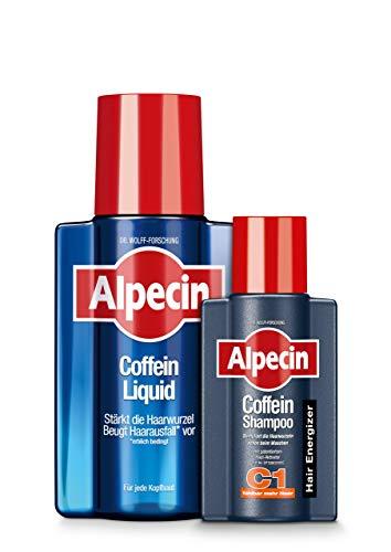 Alpecin Coffein-Liquid, 1 x 200 ml + GRATIS Coffein-Shampoo C1, 1 x 75 ml - Kombiset mit praktischer Probiergröße | Beugt erblich bedingtem Haarausfall vor | Für fühlbar mehr Haar