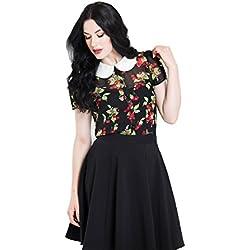 Hell Bunny Blusa Cherie cerezas de estilo vintage retro - Negro