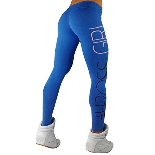Kanpola Hosen Frauen Sport Gym Yoga Running Fitness LeggingsAthletic High Taille Hose (M, Blau) (Mutterschaft Strumpfhose Länge Voll)