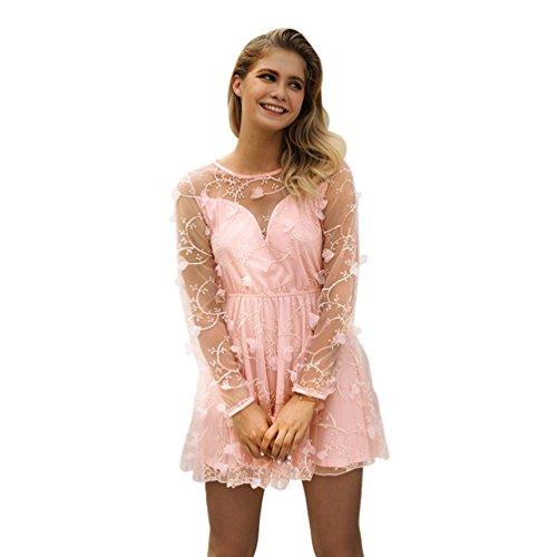Anguang Damen Langarm Drucken Transparentes Netzkleid Elegant Rundhals Prinzessin Kleid Pink S