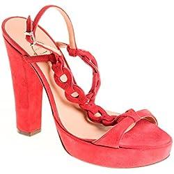 Unützer Damen Pumps Sandalen Leder Rot, Schuhgröße:40