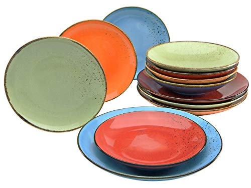 Creatable 20964, Serie Nature Collection MEDITERRAN, Geschirrset, Teller Set 12 teilig, Steinzeug