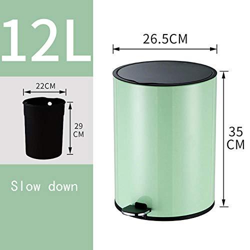Cynyy Stylisch Und Kompakt Kreativ Gestalteter abfalleimer Mülleimer Bad Küche Wohnzimmer Kreative Wc-Pedal Typ Mit Deckel Groß Large Nordic Green 12L (anwendbar - Küche - Wohnzimmer)