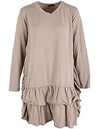 Gracious Girl Neue Damen Italienische schrullige Lagenlook Frauen Frill Hem Tunika Top Bluse Plus Größen