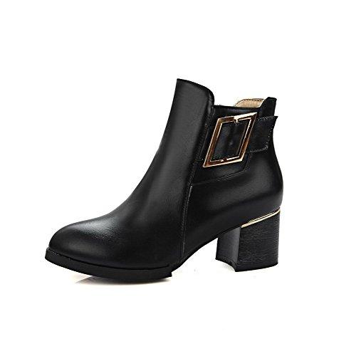 VogueZone009 Damen Rein Blockabsatz Reißverschluss Stiefel mit Metall Schnalle Schwarz