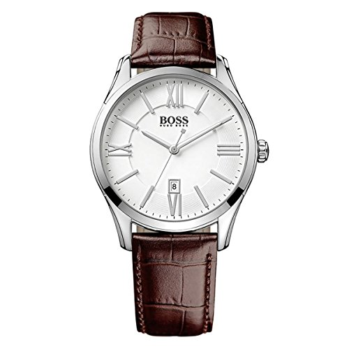 Hugo Boss 1513021 44mm Stainless Steel Case Brown Calfskin Mineral Men's Watch