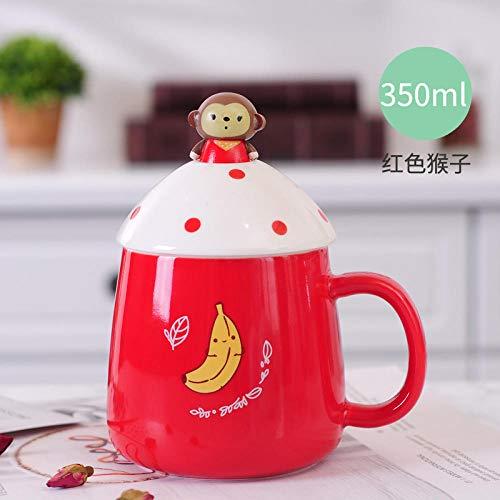 Handgemachte Keramik Tasse Mit Deckel Löffel Becher Kaffeetasse Cute Cartoon Animal - Red Monkey 350Ml - Red Melamin Kaffee Becher