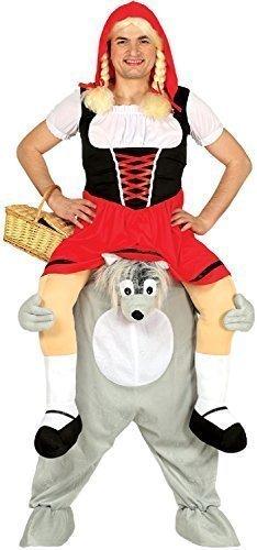 (Fancy Me Damen Herren Huckepack Darauf Reiten Schritt Wolf Rot Riding Herrenabend Henne Do Nacht Märchen Kostüm Kleid Outfit)