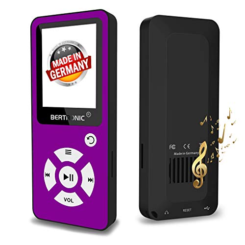 BERTRONIC Made in Germany BC01 Royal MP3-Player, 64 GB ★ Bis 100 Stunden Wiedergabe ★ Radio | Portabler Player mit Lautsprecher | Audio-Player für Sport mit Micro SD-Karte & Silikonhülle - Shuffle Mp3-player Mit
