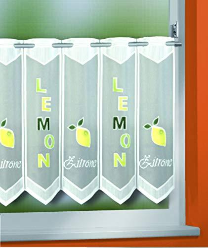 KAMACA Bistrogardine Küchengardine Lemon individuell in der Breite kürzbar Halbtransparent Breite 150 cm/Höhe 45 cm Scheibengardine (Zitrone)*