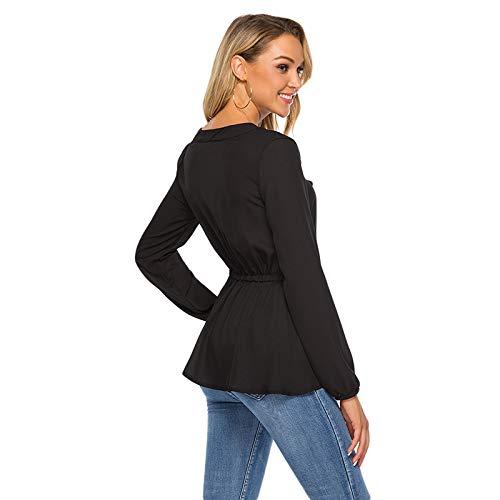 Bow-front-pullover (LnLyin Sommer Frauen Langarm Bluse Einfache Freizeithemd Krawatte Vorne Casual Tops, schwarz, M)
