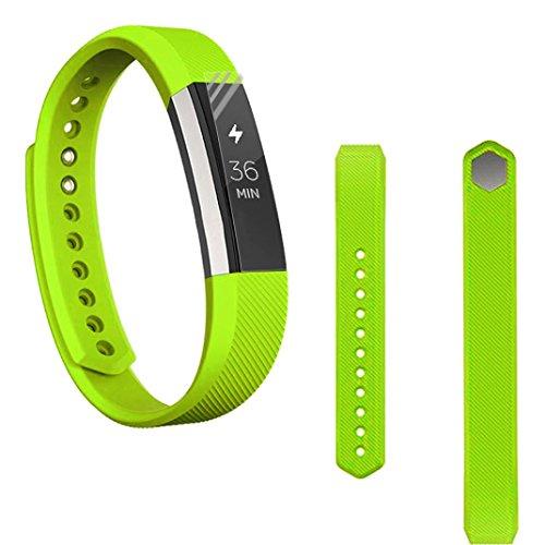 Preisvergleich Produktbild Sansee Ersatz-Armband Silikon-Gürtelschnalle + Schutzfolie für Fitbit Alta HR (Silikonband + Folie) (Grün)