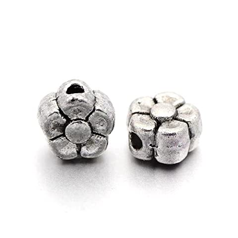 Packet of 50+ Antique Silver Tibetan 5mm Flower Spacer Beads - (HA17670) - Charming Beads