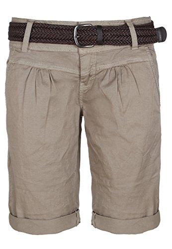 Fresh Made Sommer-Hose Bermuda-Shorts für Frauen | kurze Chino-Hose mit Flecht-Gürtel | Basic Shorts aus Baum-Wolle middle-grey M