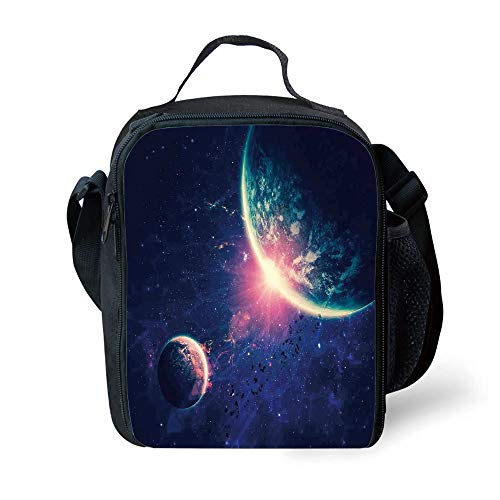 ZKHTO School Supplies Galaxy,Outer Space Theme Planet Earth Mars in Space Discovery of Universe Astronomy Art,Navy Blue Pink for Girls or Boys Washable