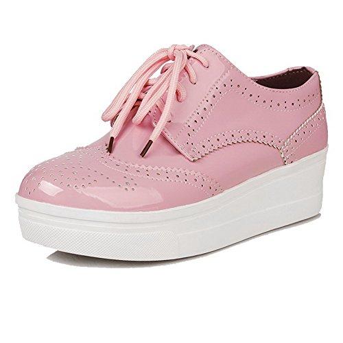 VogueZone009 Femme Lacet Pu Cuir Rond Couleur Unie Chaussures Légeres Rose
