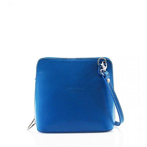 LeahWard® VERA PELLE ITALY GENUINE Cuir Sac À Betoulière Sac Betoulière Petit Sacs (Bleu H16cm x W18cm x D8cm)