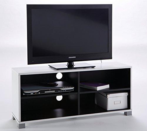 Mesa de TV módulo bajo color blanco y negro de 4 compartimentos de salón comedor. 101cm largo x 29cm ancho x 43 altura