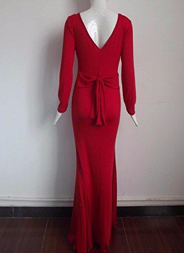 Robe Dos V Cou Couture Femmes Longues En Coton A Manches Taille Decontractee Jupe Longue Rouge